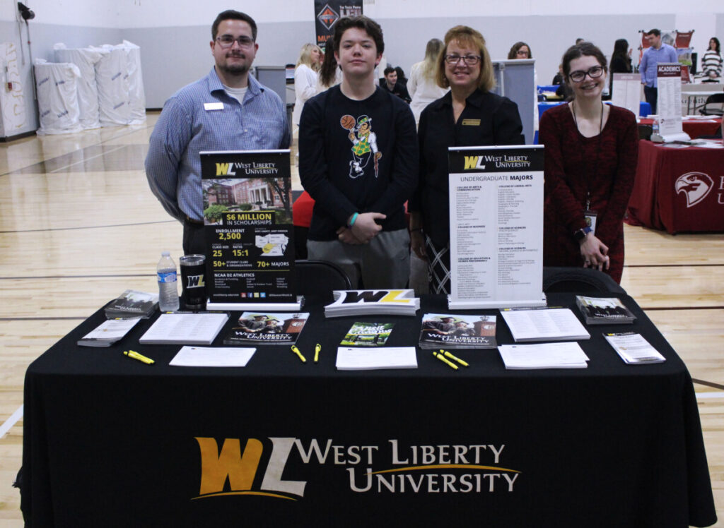 Pictured from left: WLU Admissions Counselor Kyle Patrick, JM senior Scott Gates, WLU Admissions Counselor Rhonda McCullough and JM senior Caitlin Reynolds.