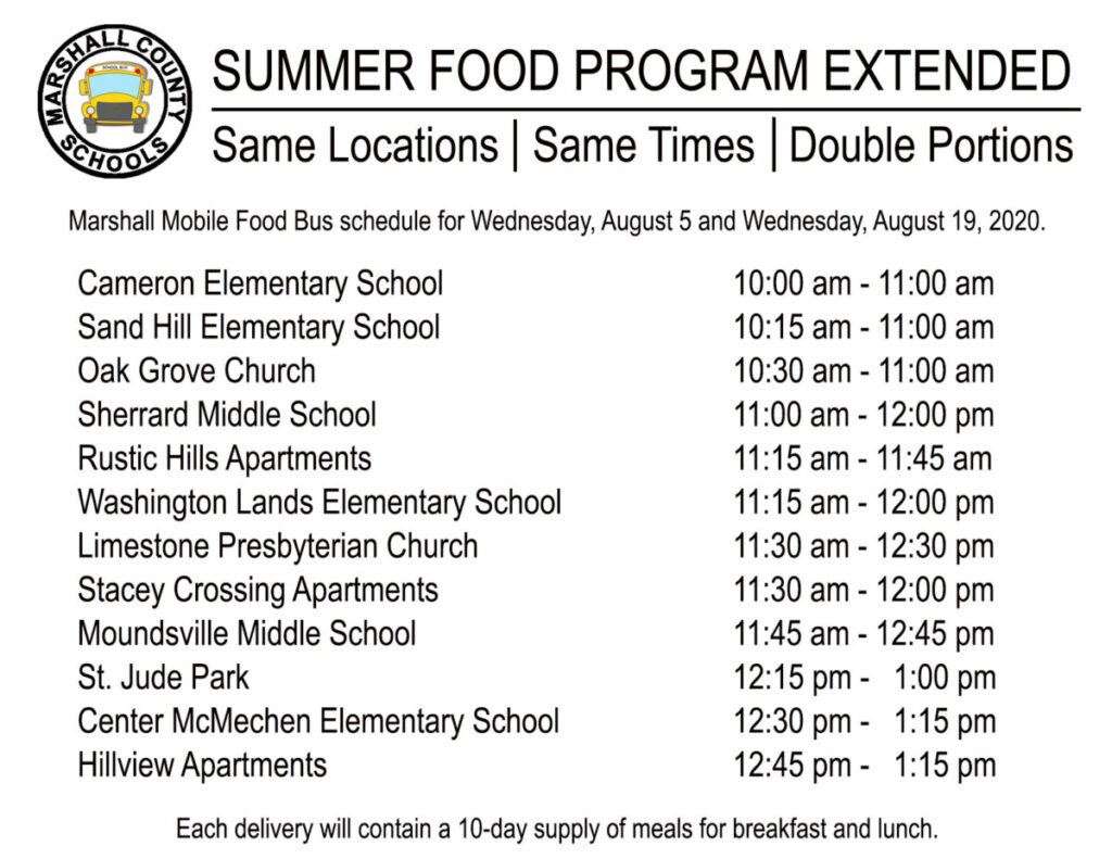 The Marshall County Schools Summer Food Program schedule has added an extra week because of West Virginia Governor Jim Justice's order that schools can't go back in session until Tuesday, September 8, 2020. On Wednesday, August 5 and Wednesday, August 19, 2020 the Marshall Mobile Food Bus will make stops in the same neighborhoods at the same times but will distribute double portions. Each delivery will contain a 10-day supply of meals for breakfast and lunch.
