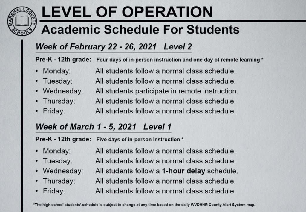 •Monday:All students follow a normal class schedule.  •Tuesday:All students follow a normal class schedule.  •Wednesday:All students participate in remote instruction.  •Thursday:All students follow a normal class schedule.  •Friday:All students follow a normal class schedule.