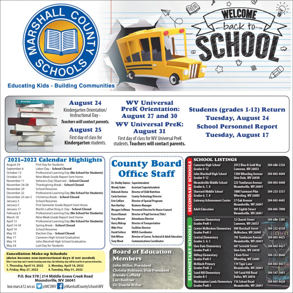 an informational flyer with the 2021-2022 Marshall County Schools academic calendar. Please call 304-843-4400 for additional information.