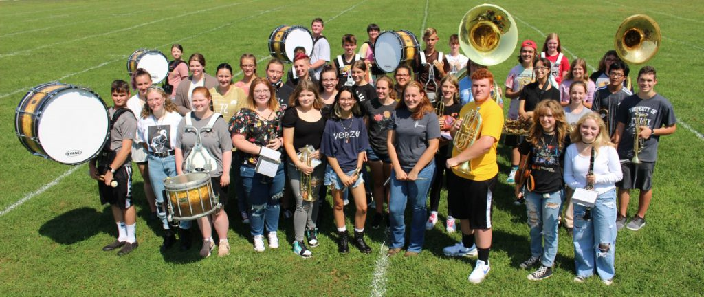 Picture of the band on the practice field.