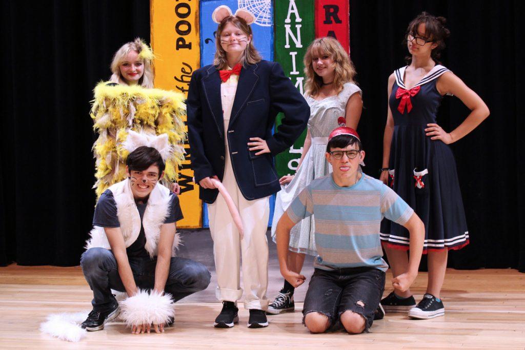 Pictured from left front row: Snowbell (Chris Evans), Stuart Little (Gabriel Garrison) and Leroy (Kal-el Hill). Back from left: Margalo (Lauren Brannan), Harriet Ames (Nev Hess) and Noel (Annadra Dudley).