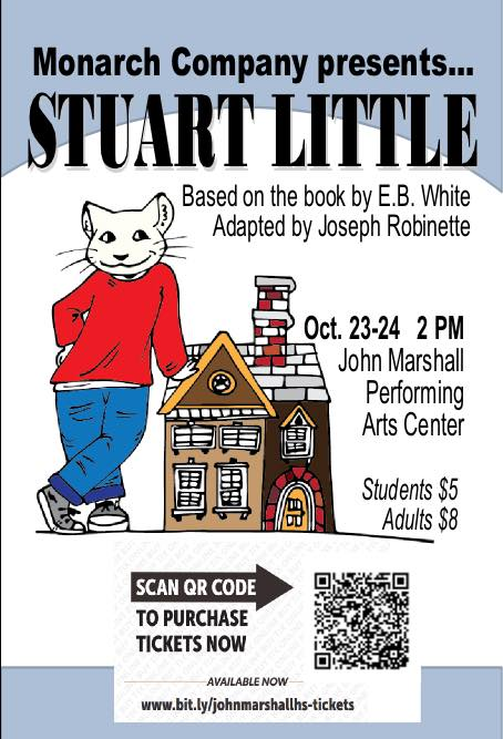 A cartoon Stuart Little dress in a red sweatshirt is pictured with October 23-24 2 PM John Marshall Performing Arts Center Students $5 Adults$8.