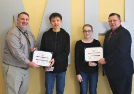 The Knights of Columbus John Marshall Students of the Month for January are Audrey McCord and Joshua Fintel.