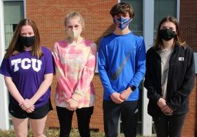 Pictured from left are the JM LifeSmarts team members: Miranda Taylor, Shelby Moore, MacK Allen and Alyssia Brannan. The team is standing in front of the school.