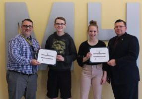 The Knights of Columbus John Marshall Students of the Month for February are Amanda Rine and Nick Sessums.