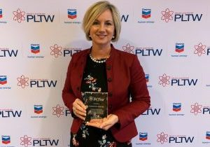 John Marshall High School Head Principal Cassie Porter received the highest honor given to Project Lead The Way educational leaders – PLTW Outstanding Educational Leader – at the Project Lead The Way national conference – PLTW Summit in Indianapolis, Indiana.