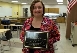 The Dr. John Warner Outstanding Teacher Award for contributions to science education and mentorship of future scientists has been awarded to John Marshall High School Science teacher Alexa Bushovisky by the West Virginia Academy of Science.