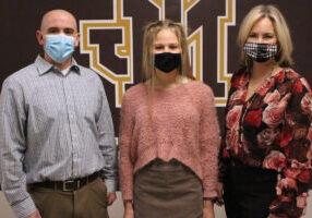 Pictured from left: JM PLTW teacher Gavin Hartle, Zara Zervos and JM head Principal Cassie Porter.